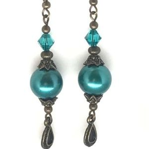 Turquoise Blue Pearl~Antique Brass~Crystal~Earring